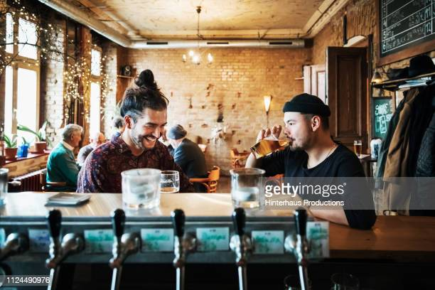 two friends drinking in stylish bar - beer alcohol stock pictures, royalty-free photos & images