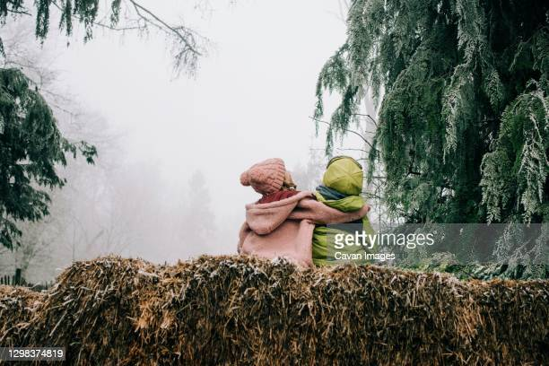 two friends hugging sat outside together enjoying the winter scene - sibling stock pictures, royalty-free photos & images