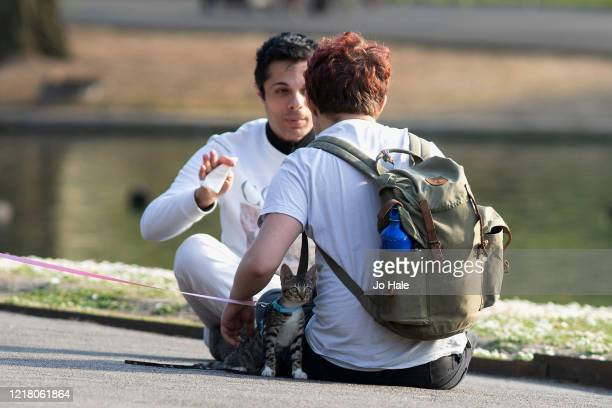 Two Friends sitting by the lake in Regents Park with a pet kitten on a lead on April 10, 2020 in London. There have been around 70,000 reported cases...