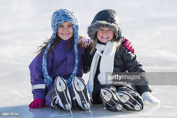 Two Friends Sitting on the Ice