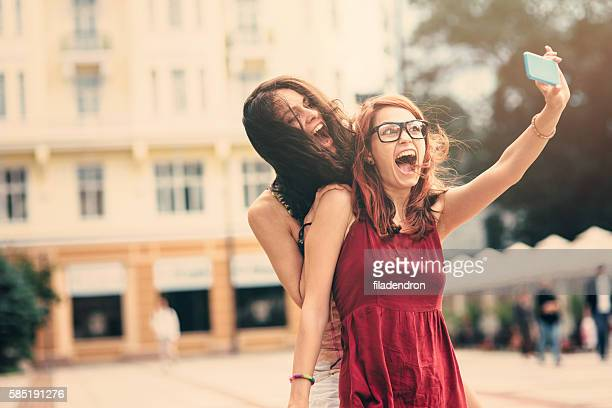 Two friends taking a selfie