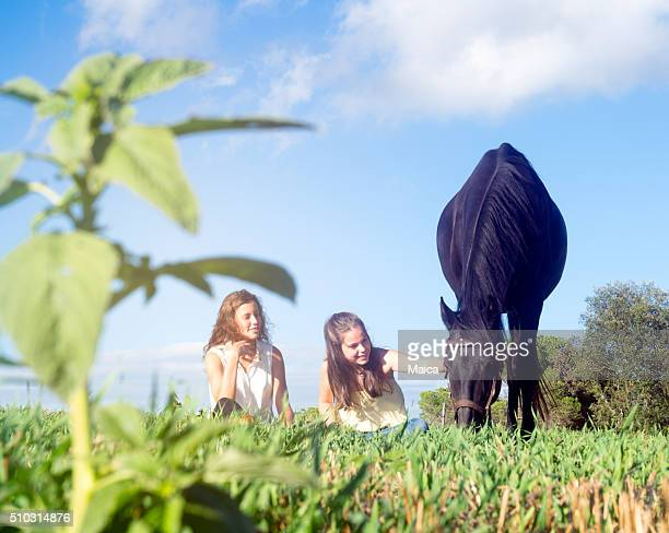 Zwei Freunde mit dem Pferd