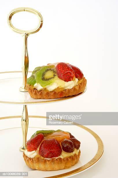 Two fruit tarts on cakestand, studio shot