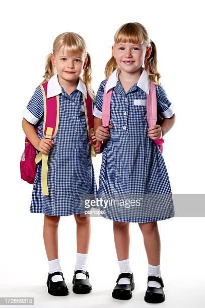 Two full length little school girls