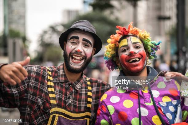 Two Funny Clown Portrait at City