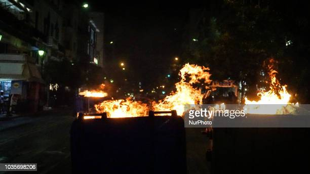 Two garbage cans are burning during the 5th anniversary of the murder of Pavlos Fyssas in Pireaus 18 September 2018 September 2018 marks 5 years...