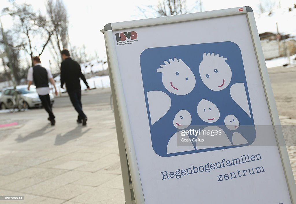 Two gay men arrive to attend the opening of Germany's first gay parent counseling center on March 15, 2013 in Berlin, Germany. The Regenbogenfamilien Zentrum (Rainbow Families Center) will provide counseling and other services to families with gay, lesbian and transgender parents. Gay marriage is legal in Germany though gay couples are not entitled to the same full legal rights as heterosexual couples, and the issue of child adoption by gay couples remains legally somewhat complicated.