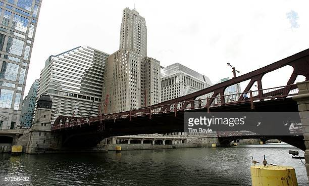 Two geese are seen on a piling, bottom right, at the Clark Street double-leaf trunnion bascule bridge, built in 1929, over the Chicago River March...