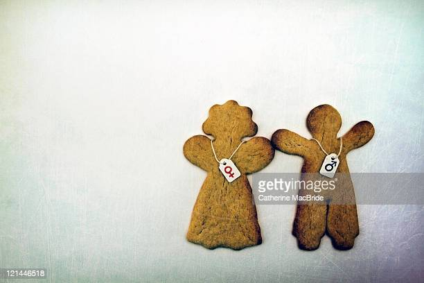 Two gender labelled gingerbread people