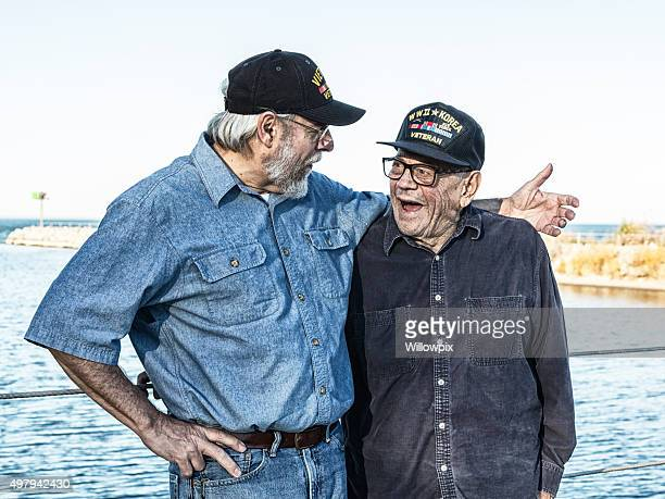 Two Generations Of USA Military War Veterans Telling Jokes