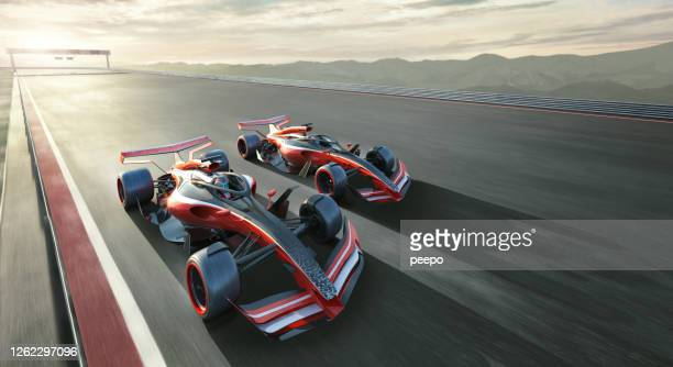 two generic racing cars driving close together at high speed - sports race stock pictures, royalty-free photos & images