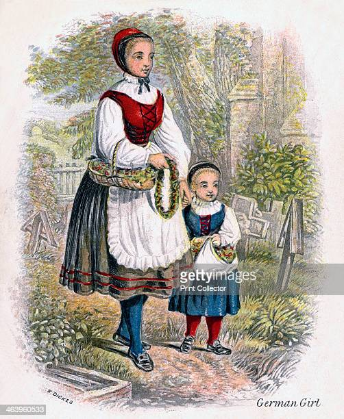'Two German Girls with Baskets of Flowers' 1809 The dress of the peasant women of Germany is seldom exactly the same even in two neighouring villages...