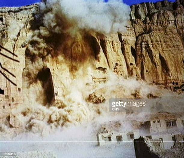 Two giant Buddhas carved into a cliff are destroyed by the Taleban at Bamiyan Afghanistan March 12 2002 as they were deemed to be offensive to Islam...