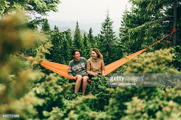 Two girl in hammock