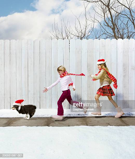 Two girls (6-7) chasing puppy