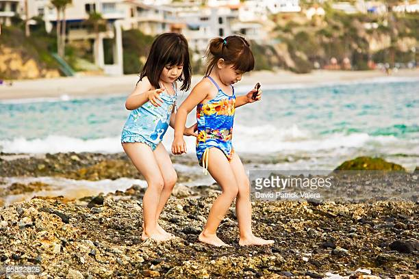 Two girls collecting shells on beach