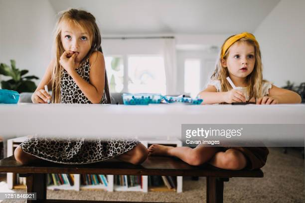 two girls doing distance learning homework and watching teacher online - mindzoom 2 stock pictures, royalty-free photos & images
