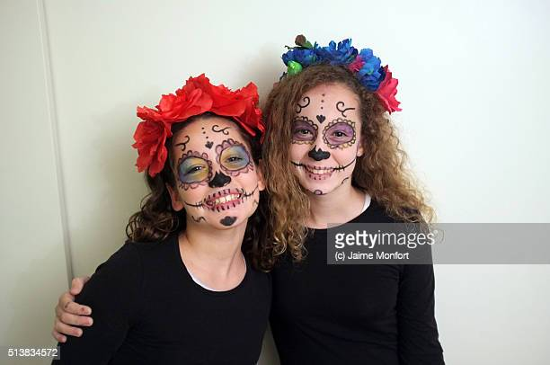 two girls dressed as catrina in halloween - la catrina stock photos and pictures