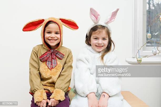 Two girls dressed up as Easter bunnies