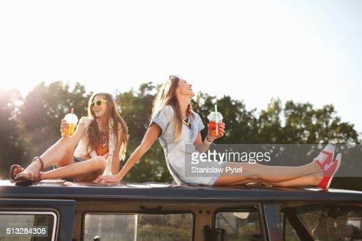 Two girls enjoying bubble tea