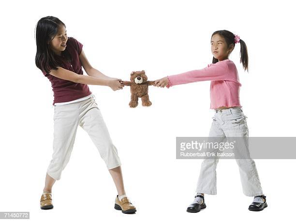 Two girls fighting over a teddy bear