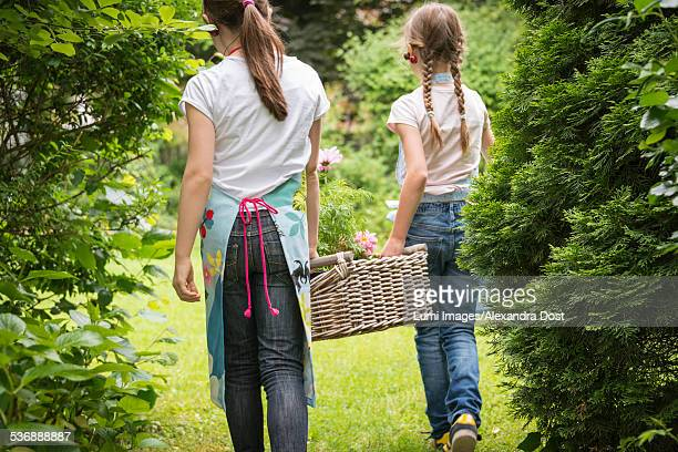 two girls gardening, carrying basket with flowers - alexandra dost stock-fotos und bilder