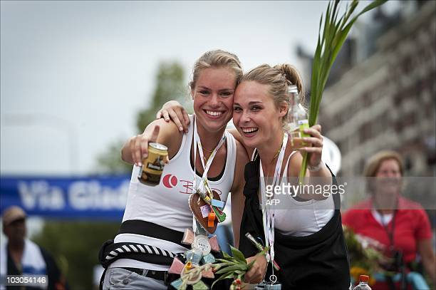 Two girls have made the finish of the annual Four Days March or 'Vierdaagse' in the Dutch city Nijmegen The Netherlands during the fourth and last...
