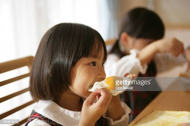 Two girls having breakfast at the dining table