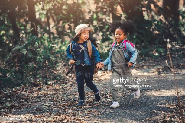 two girls hiking in forest - nature stock pictures, royalty-free photos & images