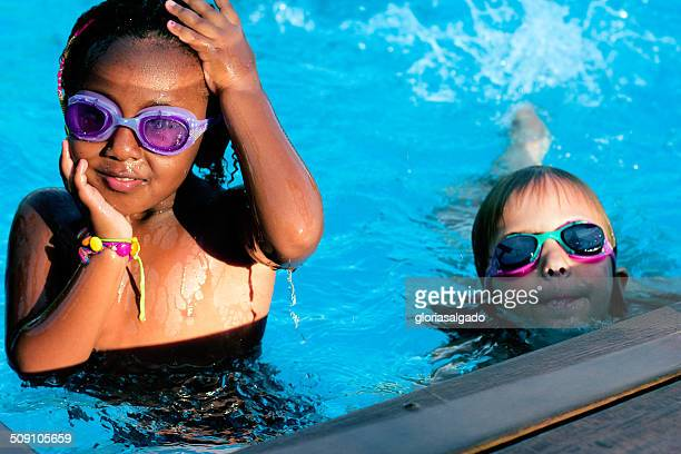 Two girls in a swimming pool