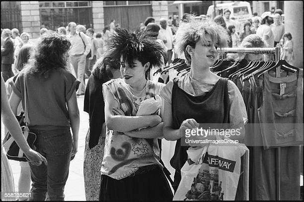 Two girls in Covent Garden London June 1983