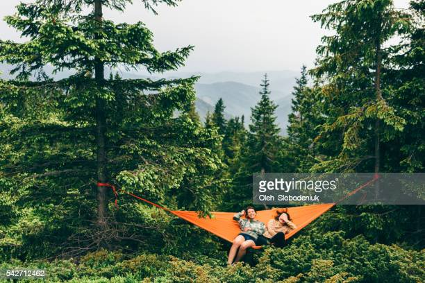 Two girls in hammock