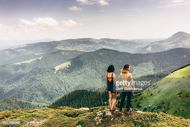 Two girls in mountains