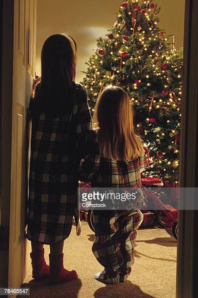 two girls looking at christmas tree - 1990 1999 - fotografias e filmes do acervo