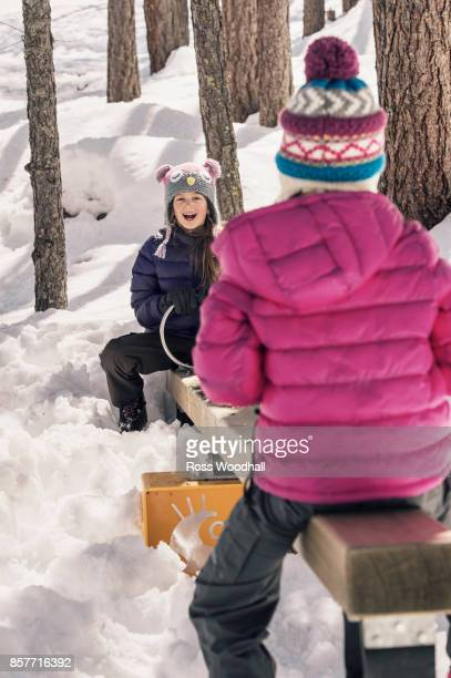 Two girls on a seesaw in the snow
