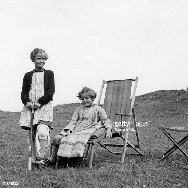 Two girls on mountain meadow