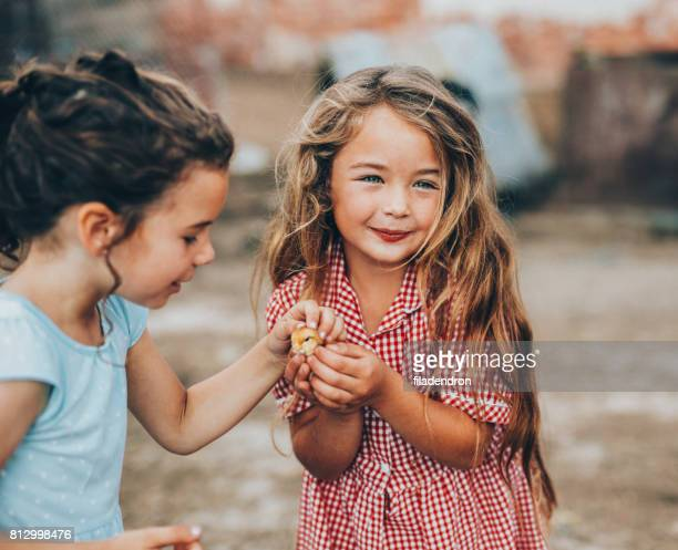 Two girls petting a little chicken