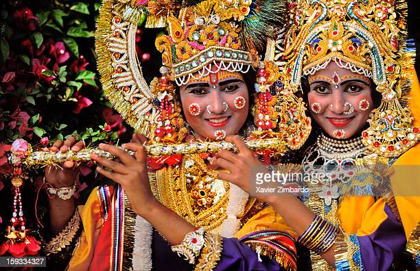 Two girls play the role of Krishna and her lover Radha in Mathura India on March 12 1992