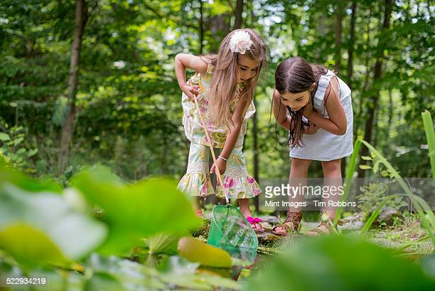 Two girls playing at a pond in a forest.