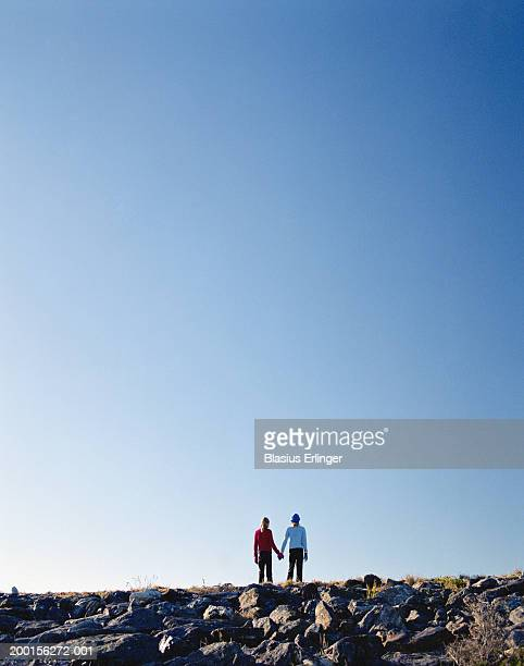 two girls (9-11) standing on ridge, holding hands, rear view - blasius erlinger stock pictures, royalty-free photos & images