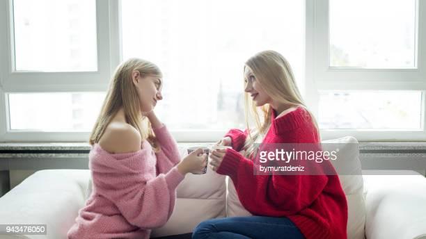 コーヒー カップと話している二人の女の子 - 姉妹 ストックフォトと画像