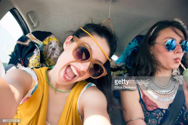 Two girls traveling