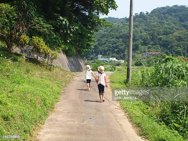 Two girls walking along path