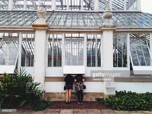 Two girls watching the inside of a greenhouse in the Royal Botanic Gardens Kew in London Picture taken in August 2014