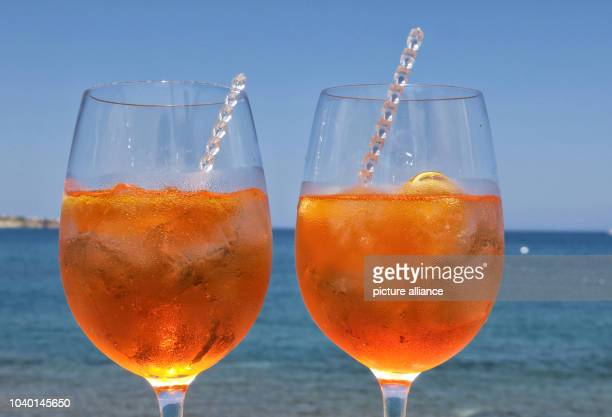 Two glasses of Aperol Spritz on a wall in Anissa on the Greek island of Crete Greece 5 September 2016 PHOTO SOEREN STACHE/dpa | usage worldwide