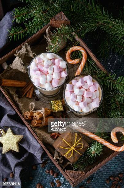 Two glasses of cafe latte with pink marshmallow standing in wooden box with Christmas decor candies spices coffee and fir tree over dark texture...