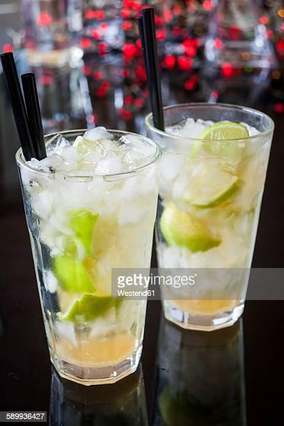 Two glasses of Caipirinha