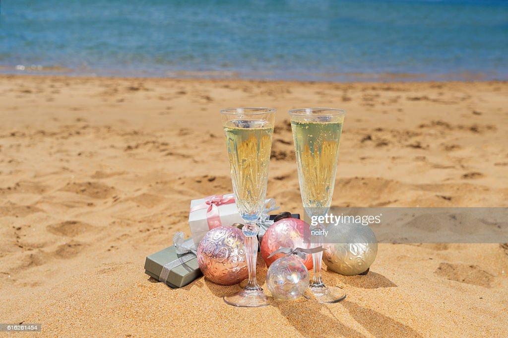 Two glasses of christmas champagne : Stock Photo