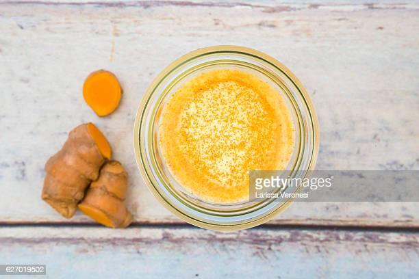 Two glasses of curcuma milk