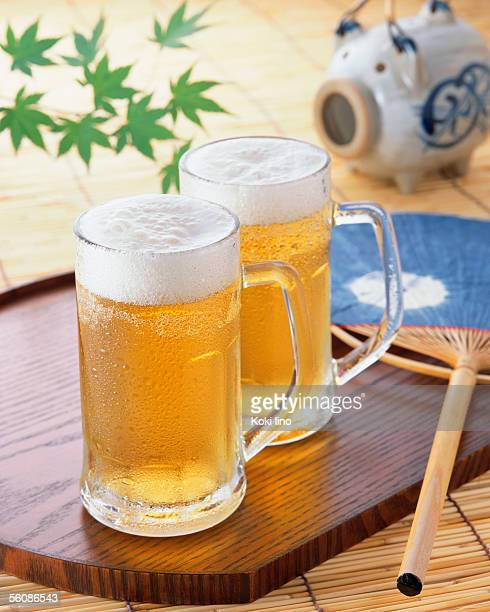 Two glasses of draft beer